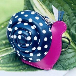 Kate spade snail enchanted zip coin purse keychain
